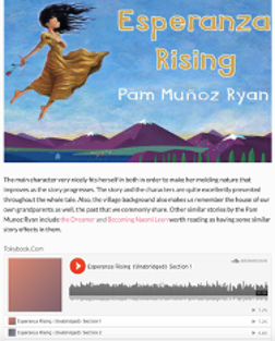 Cover from Esperanza Rising by Pam Munoz Ryan with image of the links for audio files for each chapter of the book
