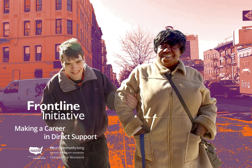 The cover of this issue of Frontline Initiative, showing a young man with a disability walking down a city street with his DSP. Both are smiling.